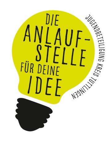 """Logo in Glühbirnenform """"Anlaufstelle für deine Ideen"""""""
