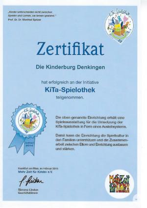 Zertifikat Spielothek