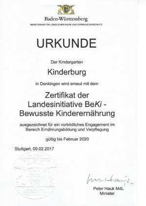 Zertifikat BeKi